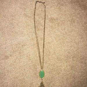 Green Pendant Necklace Long
